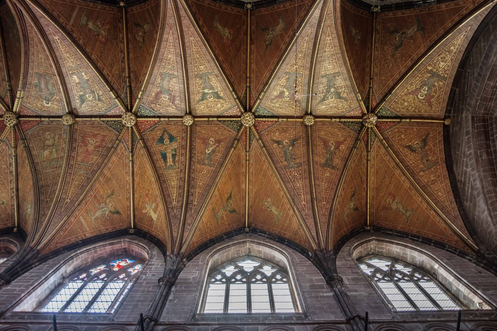 Things to do in Chester Cathedral ornate ceiling